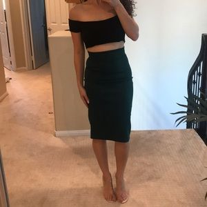 Dresses & Skirts - Emerald green pencil skirt and crop top